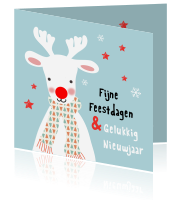 Illustratieve kerstkaart met Rudolf the red nosed reindeer
