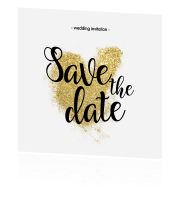Hippe save-the-date-kaart met glitterhart