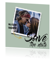 Save-the-date-kaart met fotoframe