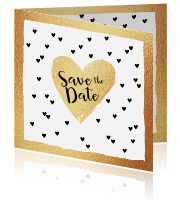 Hippe save-the-date-kaart met goudlook en hartjes