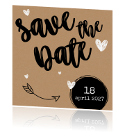 Hippe save the date kaart met typografie op kraft-look