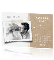 Trendy save-the-date-kaart met kalender