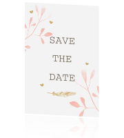 Save the date kaart in watercolour met bladeren en hartjes