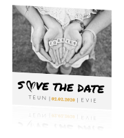 Save-the-date-kaart zwart-wit