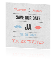 Stoere save the date kaart in vintage look