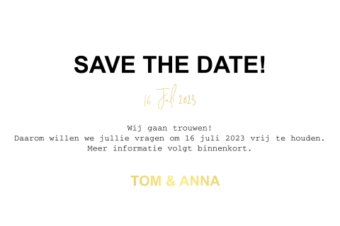 Goudfolie save-the-date-kaart met foto