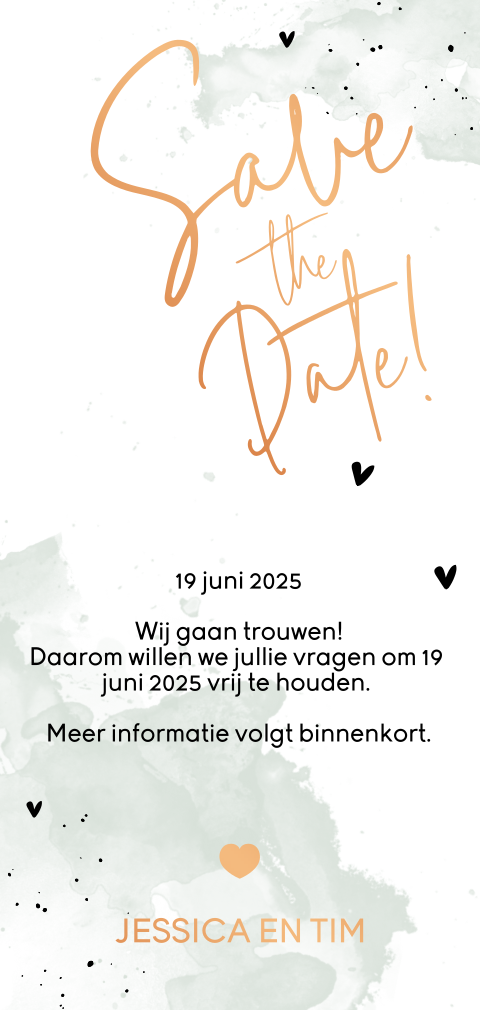 Koperfolie l hip save-the-date-kaartje met foto en waterverf