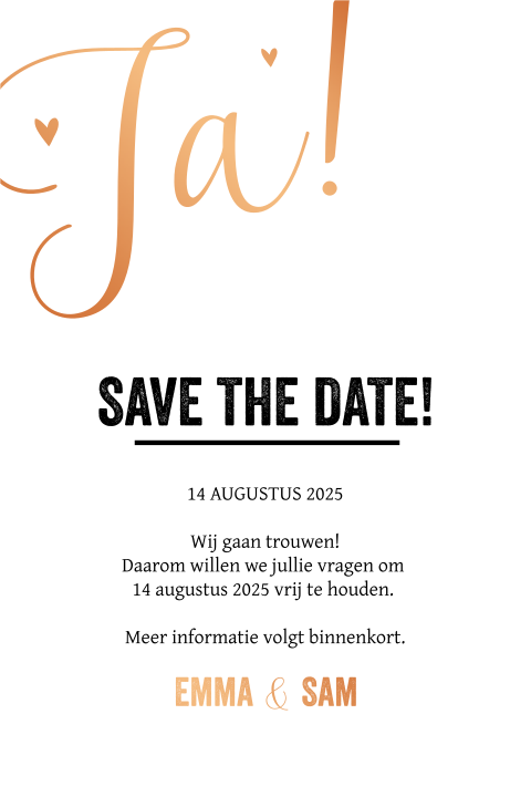 Koperfolie l romantische save-the-date-kaart met kalender