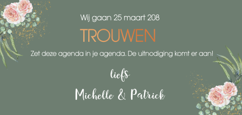 Panorama save the date kaart met rozen en koperfolie