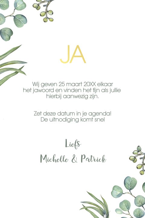 Goudfolie save the date kaart met eucalyptusblad