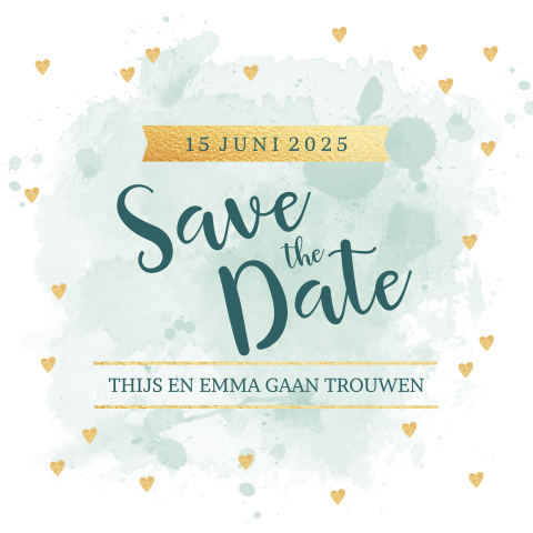 Save-the-date-kaart in mintgroen