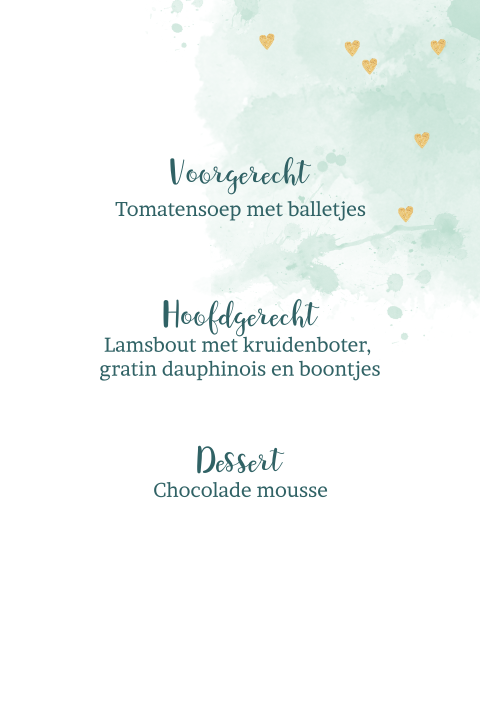 Trendy menukaart met hartjes en watercolor