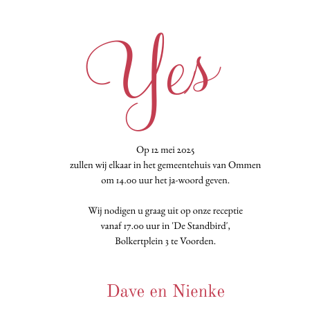 Foto-trouwkaart met takjes en in rood 'yes we do'