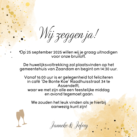 Trouwkaart 'We do' met verfspetters