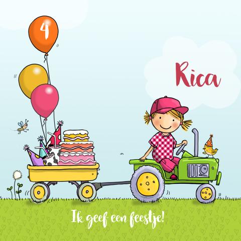 Wonderlijk Uitnodiging kinderfeestje met tractor - meisje VR-09