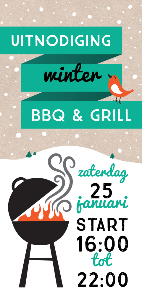 Hippe uitnodiging winter barbecue
