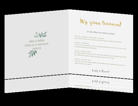 Goudfolie Trouwkaart Met Botanische Takjes