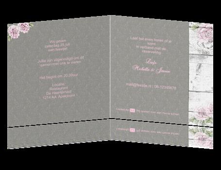 Romantische Uitnodiging 60 Jarig Huwelijksjubileum Met Hout En Rozen