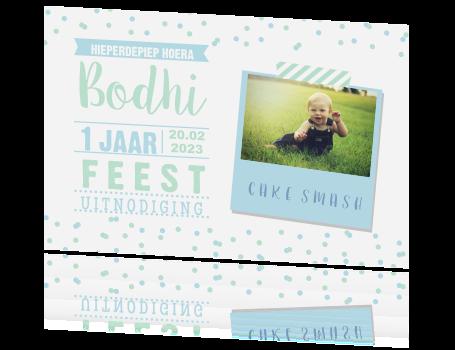 Beroemd Uitnodiging 1e verjaardag jongen - Confetti en foto &AV07