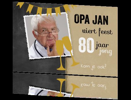 Verwonderend Vrolijke uitnodiging 80 jaar opa BH-16