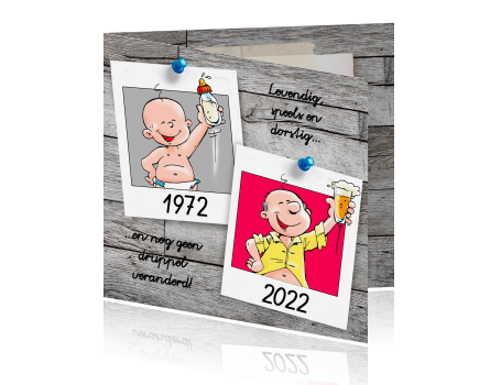 Vaak Uitnodigingskaart met cartoons 50e verjaardag @ML12
