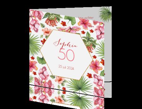 Stijlvolle Uitnodiging 50e Verjaardag Vrouw Met Tropische Bloemen
